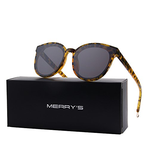 MERRY'S Round Sunglasses for Women Vintage Eyewear S8094 (Leopard, - Face Sunglass Round
