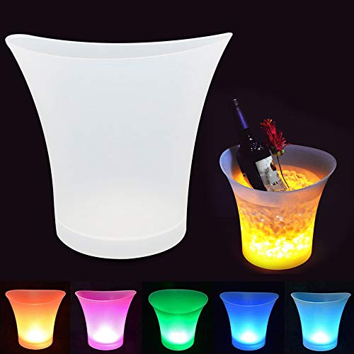 Holiday Ice Bucket - Colorful LED Ice Bucket, UMIWRE Luminous Ice Bucket Insulated Circular 5L High-Capacity Glowing Atmosphere Holiday Party Bar Multi-Color Club Bar Set Ice Shock Blinking Beer Wine Whisky Vodka Martini