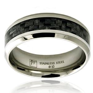 Legno scuro in acciaio inox Asse del parquet Progettazione Inlay anello