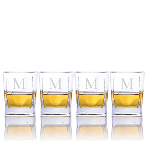 Personalized Luigi Bormioli Alfieri Lead-free Whiskey Rocks DOF Glasses - Set of 4 - Engraved & Monogrammed - Great Gift for Father's Day, Weddings and Groomsmen