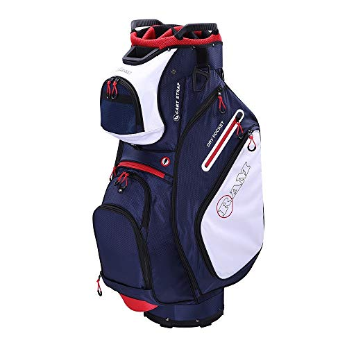 RAM Golf FX Deluxe Golf Cart Bag with 14 Way Full Length Dividers Navy/White/Red ()
