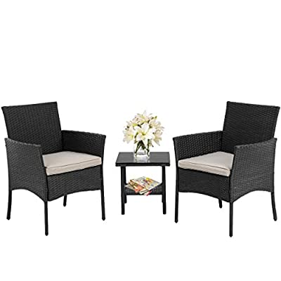 FDW Wicker Patio Furniture 3 Piece Patio Set Chairs Bistro Set Outdoor Rattan Conversation Set for Backyard Porch Poolside Lawn,Black - ✔『EASY ASSEMBLY』: This Outdoor Furniture Set Comes With All Hardware & Necessary Tools. Follow The Instruction, You Can Easily And Quickly Assemble The Bistro Set.NOTE: When you try to install the patio bistro set, try to line the hole together in all side, do not over tight one hole, then try to tight it slowly in each side. Patio Bistro Set Outdoor Rattan Chair Rattan Conversation Sets Wicker Furniture. ✔『HUMANIZED DESIGN』:Thickly Cushioned Wicker Patio Sofa Set Chairs For Maximum Comfort, Conversation Sets Gives You A Excellent Seating Experience.Our Garden Outdoor Conversation Set have strong feet to protect your floor and increase the stability of your furniture.This outdoor furniture set can be used in the courtyard, backyard, porch, garden, poolside, balcony.Outdoor Wicker Chair Rattan Conversation Sets Wicker Furniture Patio Bistro Set. ✔『STRONG AND STURDY』:This patio 3PC Bistro Set is made with a powder-coated steel frame and all-weather PE rattan wicker for a comfortable experience.The wicker of the Outdoor furniture set is sturdy but also very light. The seat cushion of this patio Conversation Set can be removed for easy cleaning. Outdoor Rocking Chair Wicker Furniture Rattan Conversation Sets Patio Bistro Set. - patio-furniture, patio, conversation-sets - 41UeK7HnZ5L. SS400  -