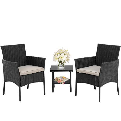 FDW Wicker Patio Furniture 3 Piece Patio Set Chairs Bistro Set Outdoor Rattan Conversation Set for Backyard Porch Poolside Lawn,Black (Rocking Outdoor Target Chairs)