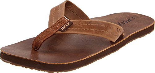 Reef Draftsmen Mens Leather Sandals | Bottle Opener Flip Flops For Men With Soft Cushion Footbed | Waterproof -