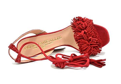 Pelle Donne 9416 Sandali rojo Eu Frange L Strappy Miralles Pedro Tallone Rosso Scamosciata 45 35 T5qwXX