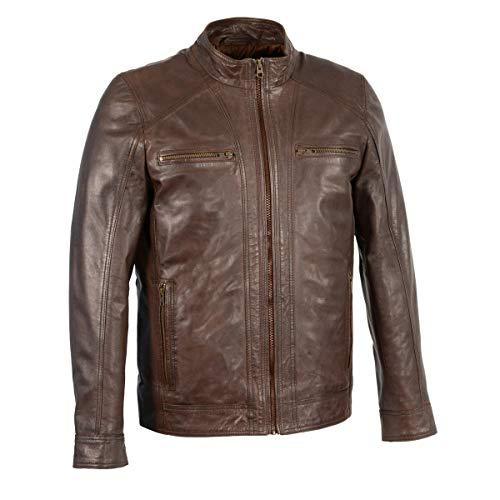 Milwaukee Leather SFM1860 Men's Broken Brown Leather Jacket with Front Zipper Closure - Medium