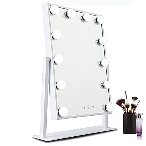 Hollywood Vanity Mirror with lights, HOMPEN Makeup Mirror with 12 Dimmable LED Bulb and Three-Tone Touch Switch-White
