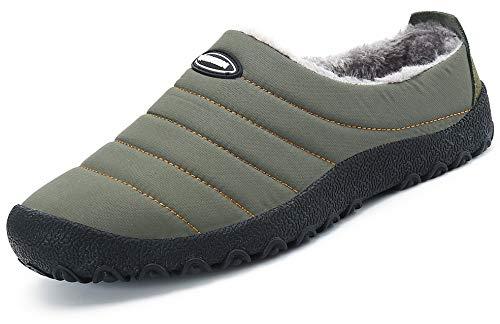 Chaud Homme Confortable D'intérieur Chaussures Femme Katliu Chaussons Antidérapante Vert Extérieur Hiver Fourrure Pantoufles semelle wRXnTqU