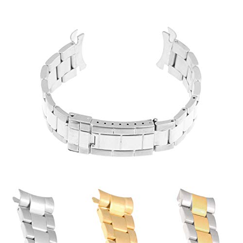 (StrapsCo Stainless Steel Oyster Watch Band Strap Bracelet with Curved Ends for Rolex - 20mm)