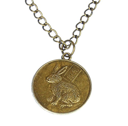 Style-ARThouse Year of The Rabbit, Chinese Zodiac Rabbit Round Pendant on Chain; 20 Inches Adjustable