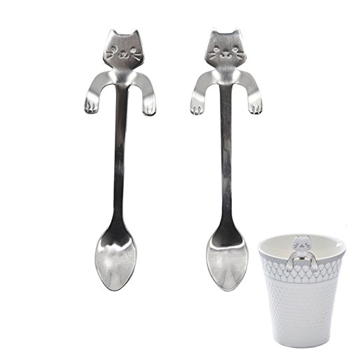 1 Set  Long Handle Stainless Steel Cat Shape Mini Spoons Pro
