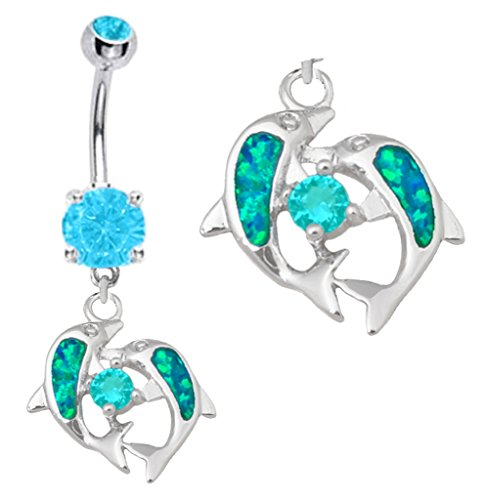 Pretty Sparkling Blue fire Opal 2 Dolphin Fish dangle Belly button navel Ring piercing bar body jewelry 14g