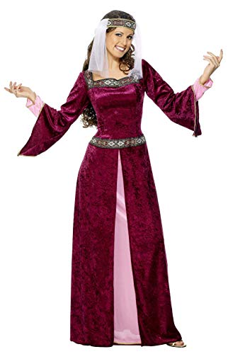 Smiffys Women's Maid Marion Costume Burgundy with Dress and Headpiece, Red, Large]()