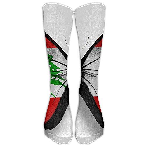 Lebanon Butterfly Flag Unisex Sport Protective Elastic Stocking Crew Knee High Tube - Shop Lebanon Online
