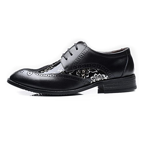 Dimensione Lace EU Modello Up Sunny Color Hollow Nero traspirante 48 Scarpe Resistente Nero Foderato Brogue uomo Splice amp;Baby liscio da Oxfords di fiore PU Carving all'abrasione Wingtip Leather xFCxwSZz