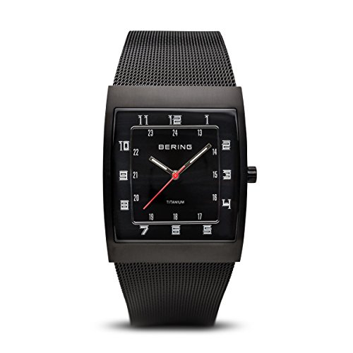 BERING Time 11233-222 Mens Titanium Collection Watch with Mesh Band and super hardened mineral glass. Designed in Denmark. (Black Titanium Mesh Band)