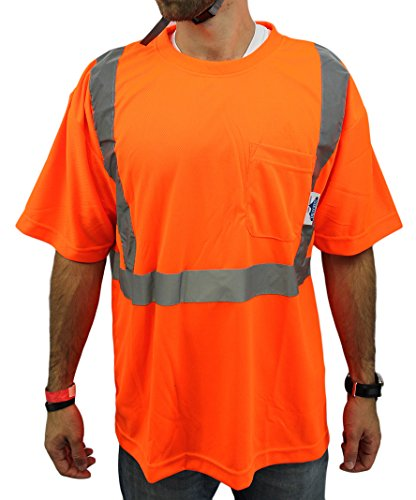 High Visibility Short Sleeve Safety Shirt Reflective NEW D01F07 ORANGE Small ()