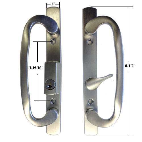 Sliding Glass Patio Door Handle Set, Mortise Type, Keyed, Brushed Chrome Plated, 3-15/16