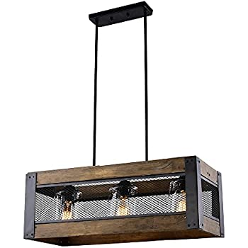 LALUZ 3-light Wood Kitchen Island Lighting Hanging Light