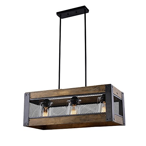 HOMEANGEL 3-light Wood Kitchen Island Lighting for Dining Room, Living Room, Kitchen Island