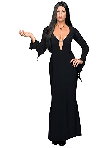 Secret Wishes Women's Adult Morticia Addams Costume Dress & Wig, Black, Plus -