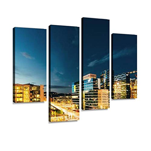 Night Panoramic View of Street in The City Centers,Oslo Canvas Wall Art Hanging Paintings Modern Artwork Abstract Picture Prints Home Decoration Gift Unique Designed Framed 4 Panel