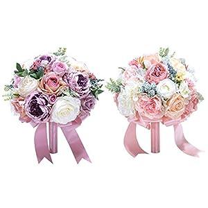 Dreamseeker Artificial Flowers Silk Fake Bridal Wedding Bouquet, Plastic Floral Arrangements, Fake Flowers Decorations for Home Garden Party Floral 102