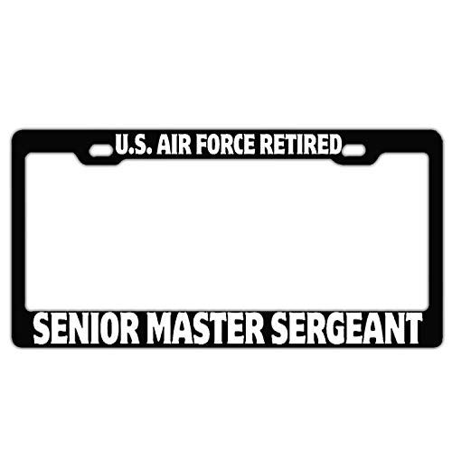 FunnyLpopoiamef U.S. Air Force Retired Senior Master Sergeant Black Custom License Plate Frame Stainless Steel License Plate Covers for US Vehicles Humor 2 Hole and Screws
