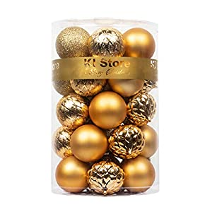 Best Epic Trends 41UePt2GyAL._SS300_ KI Store Christmas Balls Gold Shatterproof Christmas Tree Ball Ornaments Decorations for Xmas Trees Wedding Party Home…
