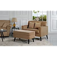 Mid-Century Modern Living Room Large Accent Chair with Footrest / Storage Ottoman (Brown)