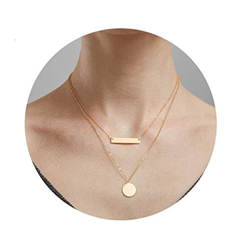MOCANALA Bar Pendant Layered Necklace, Delicate Balance Bar Pendant Choker Necklace Dainty Boho Coin Pendant Multilayer Necklace for Women Girls (Bar Coin)