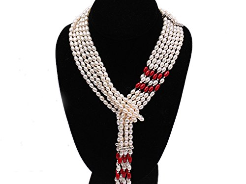 JYX 6-9mm Oval White Freshwater Peal and Red Oval Coral (White Pearl Red Coral Necklace)