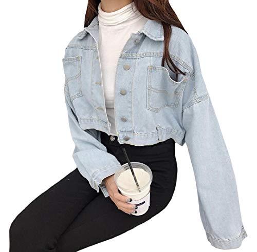Pulsante Luce Gira Outwear Blu Imbucata Energywomen Denim Allentato Breve Giù dw1dBq7