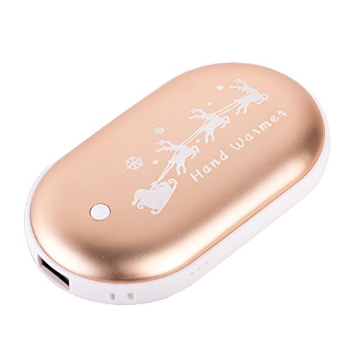 AmazingEC Rechargeable Hand Warmer Power Bank 5200mAh Portable Double-sided Pocket Electric Hand Warmer Heater USB Mobile External Back Up Battery Charger Fully Compatible Best Gift (Gold) (Portable Feet Warmer compare prices)