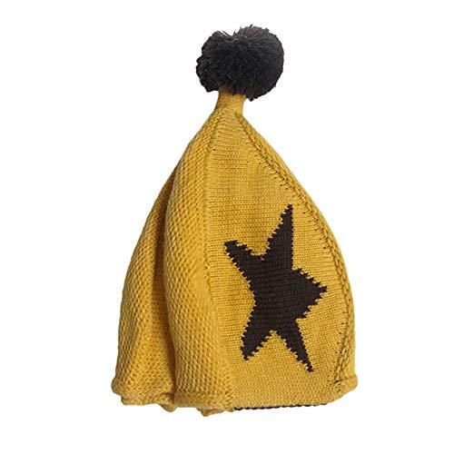 Wenjuan Girl&Boy Stars Print Winter Warm Crochet Knited Hat Beanie Hat Caps Woolen Headgear Cute Toddler Slouchy Headwear (Yellow)