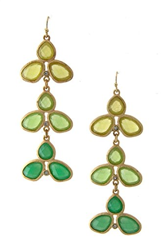 DIVA & DUCHESS FACETED TRIPLE COLOR STONE EARRING (Green) (Disco Ball Diva Costume)