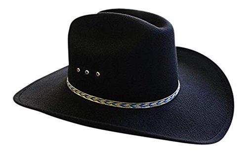 Faux Felt Wide Brim Western Cowboy Hat (Large/X-Large/7 1/4-7 5/8, Black/BlueBand)]()