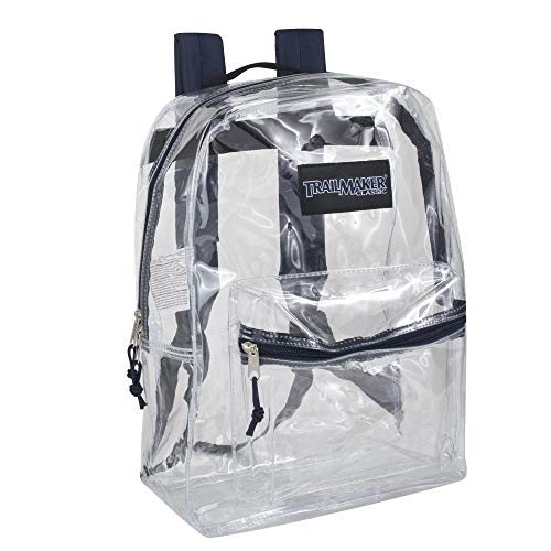 Clear Backpack With Reinforced Straps & Front Accessory Pocket - Perfect for School, Security, Sporting Events (Navy)