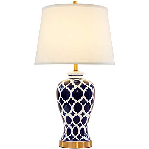 TARSHIN Light Table Lamp Ceramics - T331 Blue Hand-Painted 63cm American Bedroom Bedside Retro Living Room Blue and White Porcelain Lamps - Finely Hand Painted Ceramic