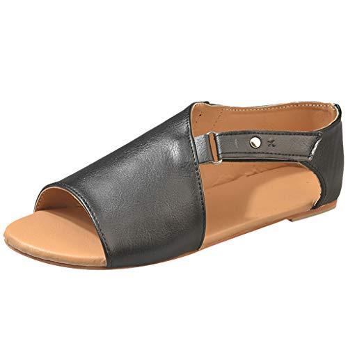 - HIRIRI Summer Flats Shoes for Women Roman Peep-Toe Open Toe Flat Beach Sandals Solid Color Hook & Loop Women' Sandals Black