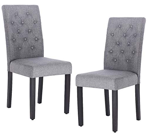 Cheap Set of 2 Modern Tufted Padded Parsons Chair, ZXBSWELE Accent Kitchen Chairs with Solid Wood Legs for Dining Room, Living Room, Kitchen, Fabric, Grey