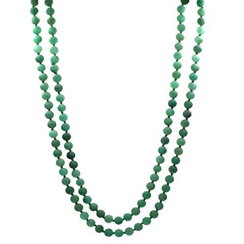- Amandastone Natural Handmade 8MM Matte Green Aventurine 108pcs Long Necklace for Prayer Meditation Yoga About 40inches