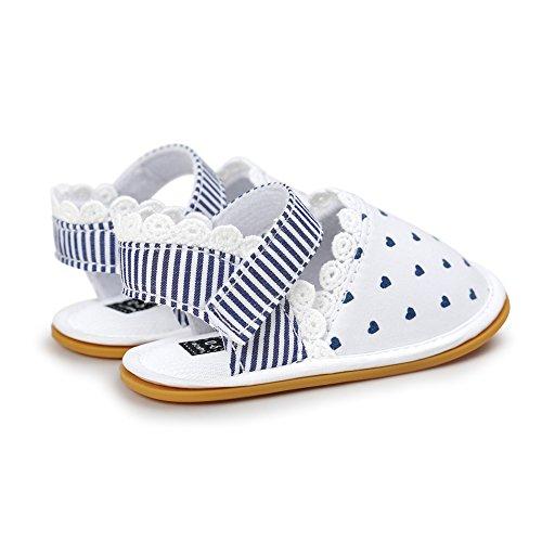 Pueri Blanco Sandalia del bebé para los primeros pasos Zapatillas agradables Zapatillas de las niñas de la primavera y el verano blanco