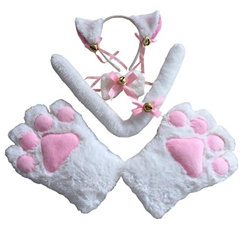 Cat Cosplay Costume Halloween Accessory Kitten Tail Ears Collar Paws Gloves Set (White) -