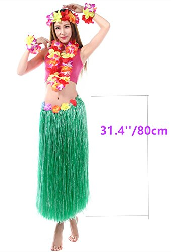 5 set Hawaiian Luau Adult Hula Green Grass Skirt Set 31.4'' with Simulated Silk Faux Flowers Hula team for Costume Party Events Birthdays (Saints Cheerleader Costume)