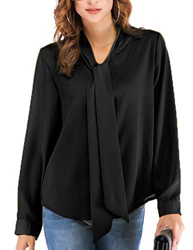 Chic Shirts Tunique de Fluide Tee Longue Chemisier Noir V Chemise Grande Mousseline Soie Tops Classique Femme Taille Cov Manche Longue Blouse Hauts Casual lgant T Uxg4Zw
