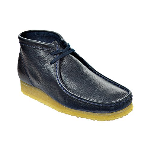 CLARKS Wallabee Men's Leather Boots Navy 26103603 (8.5 D(M) US)
