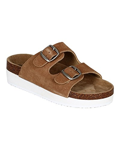 Buckle Creepers (Pierre Dumas CA38 Women Suede Open Toe Two Tone Double Buckle Flatform Creeper Sandal - New Tan (Size: 10))
