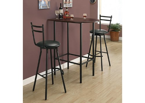 Monarch Specialties Metal Space Saver Bar Table, 24 by 36-Inch, Cappuccino/Black (Height Space Saver)