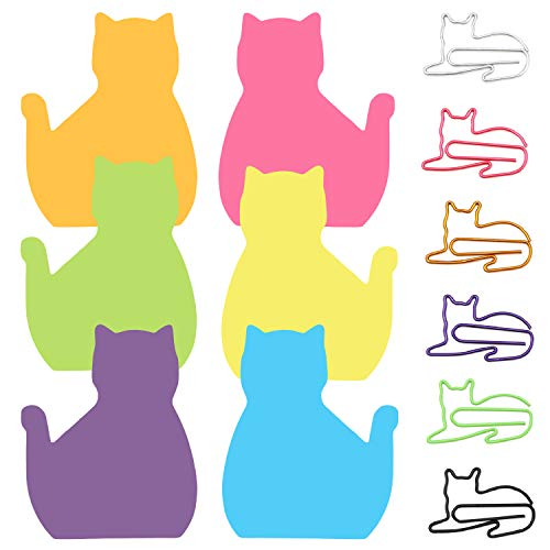 6 Color Cat Paper Clips and Silhouette Cat Sticky Notes Set, Cat Lover Gifts for Women, Cute Cat Office Supplies, Office Desk Accessories for Work